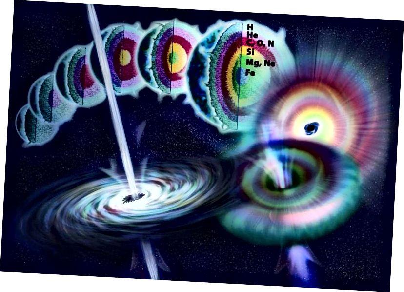 Die Anatomie eines sehr massiven Sterns während seines gesamten Lebens, der in einer Supernova vom Typ II gipfelt, wenn dem Kern der Kernbrennstoff ausgeht. Die letzte Phase der Fusion ist das Verbrennen von Silizium, wobei nur kurze Zeit lang Eisen und eisenähnliche Elemente im Kern erzeugt werden, bevor eine Supernova entsteht. (Nicole Rager Fuller / NSF)