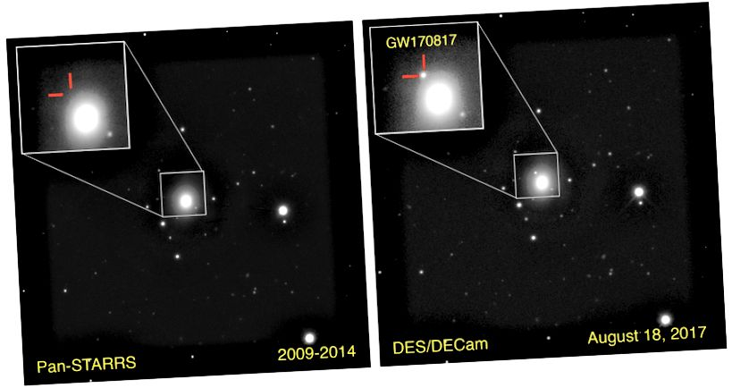 Die 130 Millionen Lichtjahre entfernte Galaxie NGC 4993 war schon oft abgebildet worden. Unmittelbar nach der Detektion von Gravitationswellen am 17. August 2017 wurde eine neue transiente Lichtquelle gesehen: das optische Gegenstück einer Neutronenstern-Neutronenstern-Fusion. (PK Blanchard / E. Berger / Pan-STARRS / DECam)