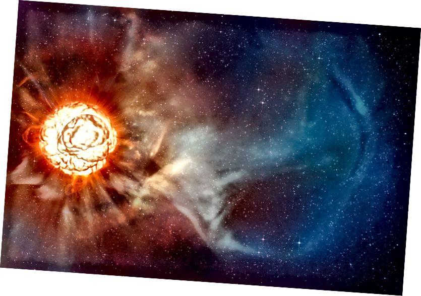 Der Eindruck dieses Künstlers zeigt den Überriesenstern Betelgeuse, wie er dank verschiedener hochmoderner Techniken am Very Large Telescope (VLT) der ESO enthüllt wurde, mit denen zwei unabhängige Astronomenteams die schärfsten Ansichten des Überriesensterns Betelgeuse erhalten konnten . Sie zeigen, dass der Stern eine riesige Gaswolke hat, die fast so groß ist wie unser Sonnensystem, und eine gigantische Blase, die auf seiner Oberfläche kocht. (ESO / L. Calçada)