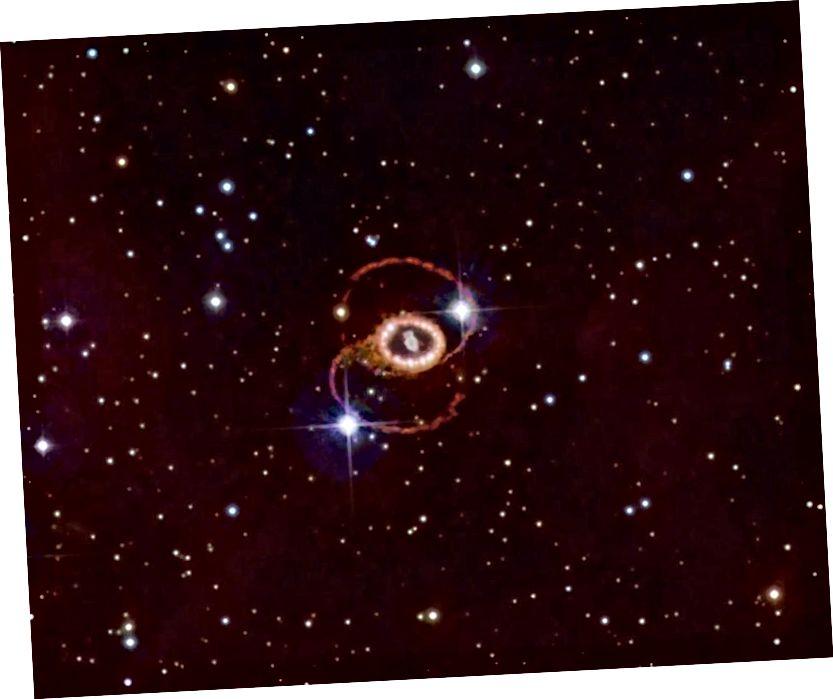 Der Rest der Supernova 1987a befindet sich in der großen Magellanschen Wolke, etwa 165.000 Lichtjahre entfernt. Die Tatsache, dass Neutrinos Stunden vor dem ersten Lichtsignal eintrafen, lehrte uns mehr über die Dauer, die Licht benötigt, um sich durch die Schichten einer Supernova des Sterns auszubreiten, als über die Geschwindigkeit, mit der sich Neutrinos fortbewegen, die von der Lichtgeschwindigkeit nicht zu unterscheiden war. Neutrinos, Licht und Schwerkraft scheinen sich jetzt alle mit der gleichen Geschwindigkeit zu bewegen. (Noel Carboni und der ESA / ESO / NASA Photoshop FITS Liberator)