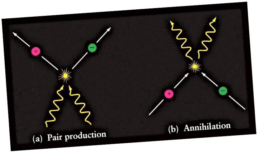 Die Erzeugung von Materie / Antimaterie-Paaren (links) aus reiner Energie ist eine vollständig reversible Reaktion (rechts), bei der Materie / Antimaterie wieder zu reiner Energie vernichtet wird. Wenn ein Photon erzeugt und dann zerstört wird, erfährt es diese Ereignisse gleichzeitig, während es überhaupt nicht in der Lage ist, etwas anderes zu erfahren. (DMITRI POGOSYAN / UNIVERSITÄT ALBERTA)
