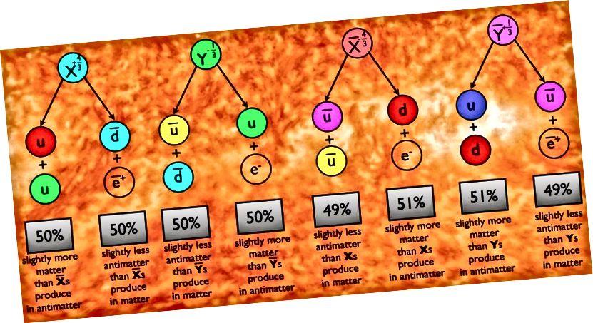 Wenn wir zulassen, dass X- und Y-Partikel in die gezeigten Quarks und Lepton-Kombinationen zerfallen, zerfallen ihre Antiteilchen-Gegenstücke in die jeweiligen Antiteilchen-Kombinationen. Wenn jedoch CP verletzt wird, können die Zerfallspfade - oder der Prozentsatz der Partikel, die auf die eine oder andere Weise zerfallen - für die X- und Y-Partikel im Vergleich zu den Anti-X- und Anti-Y-Partikeln unterschiedlich sein, was zu einer Nettoproduktion von Baryonen führt Antibaryonen und Leptonen über Antileptonen. (E. SIEGEL / ÜBER DIE GALAXIE HINAUS)