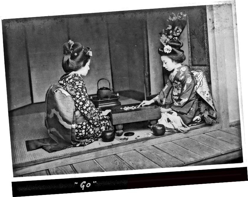 Fotografija dviju japanskih žena kako igraju Go, smještena ovdje za slučaj da vam je već dosadno gledati duge ploče teksta.