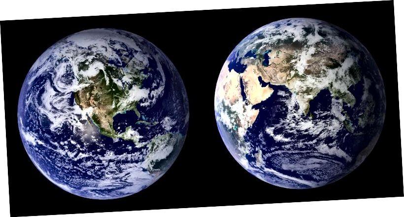 Сусветныя кампазіты двух паўшар'я дадзеных спектрарадыёметра (MODIS) з умераным дазволам, зробленыя ў 2001 і 2002 гг. Назіранні паказваюць, што Зямля амаль ідэальна круглая, але ці павінны ўсе планеты быць? Малюнак: НАСА.