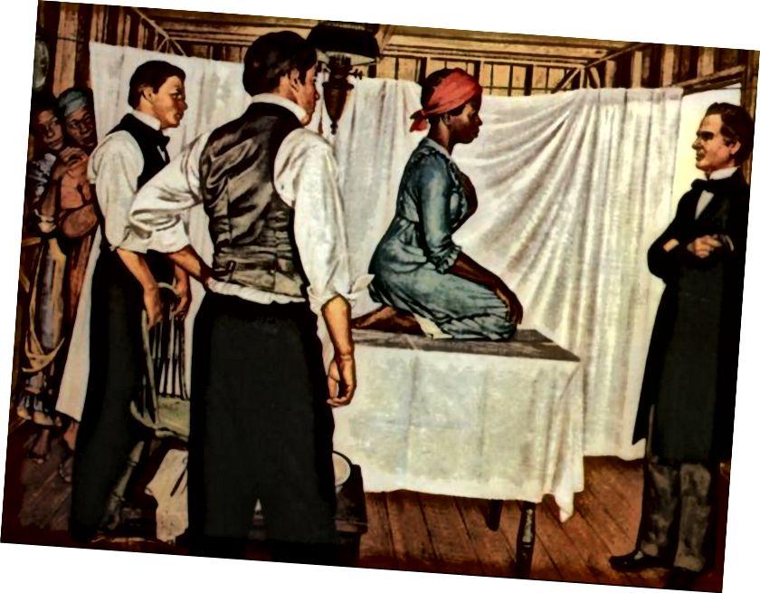 «J. Марион Симс: гинекологический хирург », из« Истории медицины »Роберта Тома, около 1952 года. Из коллекции Мичиганской медицины, Университет Мичигана, Подарок Pfizer Inc. Эта картина была заказана Parke-Davis Pharmaceuticals вместе с многие другие, чтобы эффективно «пересмотреть» историю болезни. (Рекомендовано C. Prescod-Weinstein, которая часто использует это изображение в своих выступлениях)