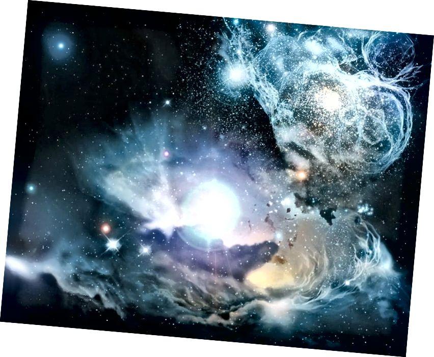 Ein künstlerischer Eindruck von der Umwelt im frühen Universum, nachdem sich die ersten Billionen Sterne gebildet haben, gelebt haben und gestorben sind. Die Existenz und der Lebenszyklus von Sternen sind der primäre Prozess, der das Universum über Wasserstoff und Helium hinaus anreichert, während die von den ersten Sternen emittierte Strahlung es für sichtbares Licht transparent macht. (NASA / ESA / ESO / Wolfram Freudling et al. (STECF))