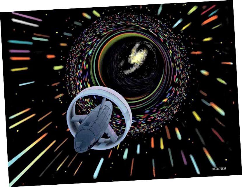 Podróże warp, jak przewidziano dla NASA. Jeśli stworzyłeś tunel czasoprzestrzenny między dwoma punktami w przestrzeni, z jednym ustem poruszającym się relatywistycznie względem drugiego, obserwatorzy na obu ruchliwych końcach starzeliby się w bardzo różnych ilościach. Jeśli zamiast wypaczać się w przestrzeni naszego Wszechświata 3D, przeszedłeś przez inny, dodatkowy wymiar, możesz niemal natychmiast połączyć dwie różne lokalizacje. (NASA / DIGITAL ART BY LES BOSSINAS (CORTEZ III SERVICE CORP.), 1998)