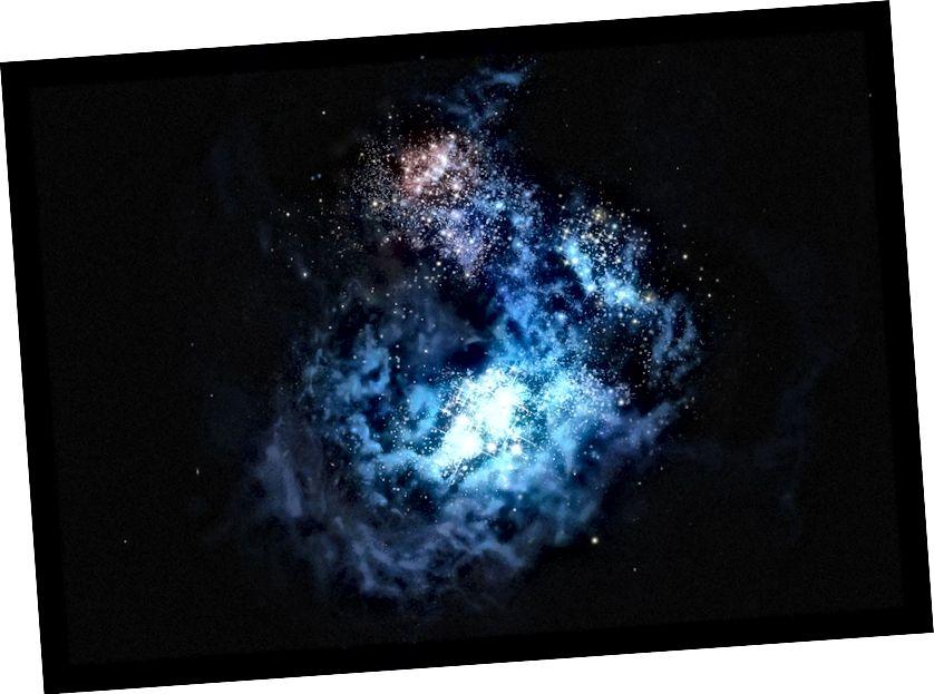 Ілюстрацыя далёкай галактыкі CR7, у якой у мінулым годзе было выяўлена некранутая папуляцыя зорак, утвораная з матэрыялу прама з Вялікага выбуху. Малюнак: М. Корммессер / ESO.