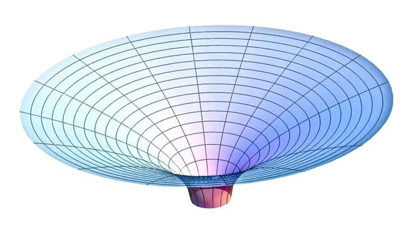 Paraboloida Flamm'a, pokazana tutaj, reprezentuje krzywiznę czasoprzestrzeni poza horyzontem zdarzeń czarnej dziury Schwarzschilda. W teorii względności Einsteina masa zakrzywia tkaninę czasoprzestrzeni. Jeśli czasoprzestrzeń ma dodatkowe wymiary, może być możliwe praktycznie natychmiastowe podróżowanie z jednego miejsca do drugiego, wykorzystując swobodę, na którą pozwala dodatkowy wymiar. (ALLENMCC. WIKIMEDIA COMMONS)