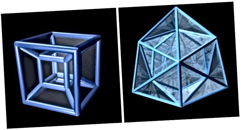 Czterowymiarowym analogiem sześcianu 3D jest 8-komórkowa (lewa); 24-komorowy (po prawej) nie ma analogu 3D. Dodatkowe wymiary przynoszą dodatkowe możliwości. (JASON HISE WITH MAYA AND MACROMEDIA FIREWORKS)