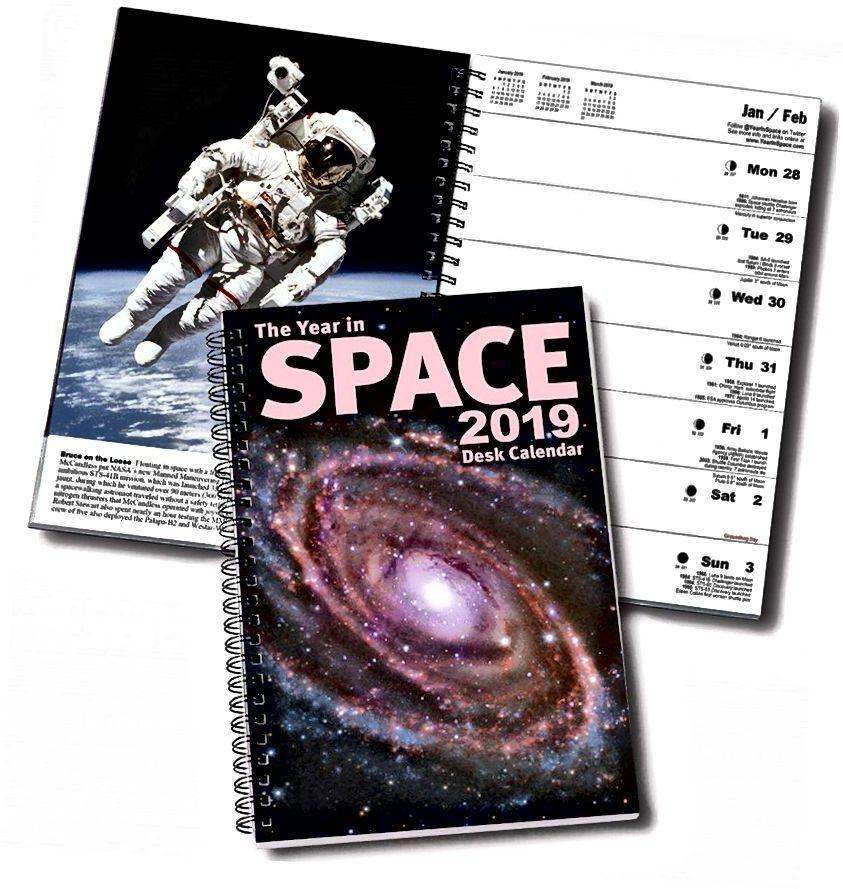 Jika Anda tertarik pada ruang dan melihat keajaiban Alam Semesta setiap kali Anda merencanakan jadwal Anda, mengapa Anda tidak menggabungkan keduanya dengan kalender yang menyenangkan ini? (TAHUN DI KALENDER RUANG / STEVE CARIDDI)