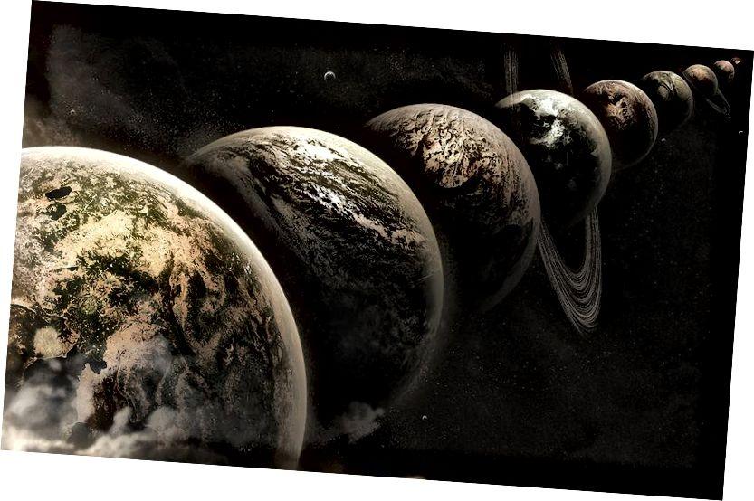 Прыклад паралельных светаў альбо альтэрнатыўных вынікаў для свету, створаных пры нашых першапачатковых умовах. Тэарэма Байса мае значэнне для таго, як апынуўся наш свет. Крэдыт малюнка: Лі Дэві / Flickr.