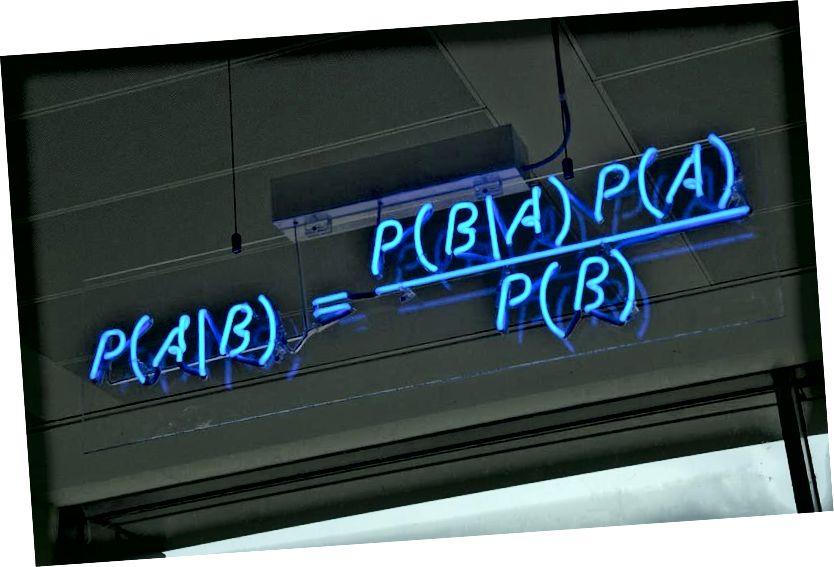 Адно з самых фундаментальных і карысных правілаў верагоднасці - тэарэма Байеса, матэматычна выражаная сінім неонам у офісах аўтаноміі ў Кембрыджы. Крэдыт малюнка: mattbuck з Wikimedia Commons.