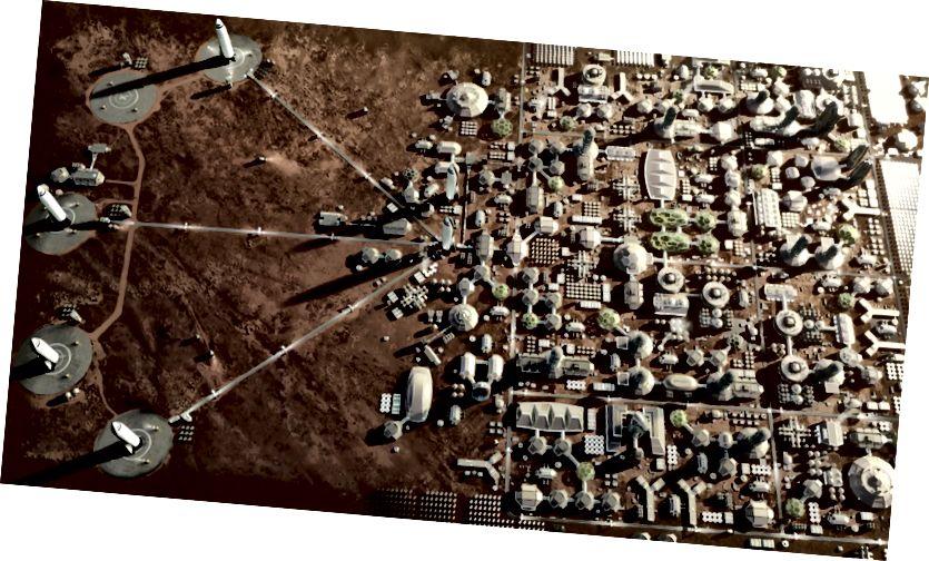 Darstellung einer geplanten Stadt auf dem Mars mit Start- und Landeplätzen für Interplanetary Transport S-Shuttles (SpaceX)