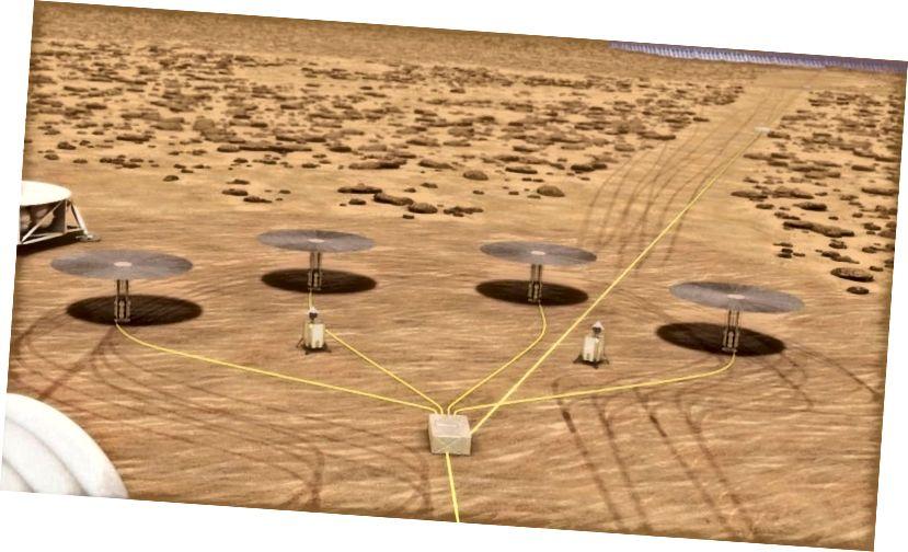 Ilustración artística de los radiadores de calor en forma de paraguas de cuatro reactores nucleares Kilopower que proyectan sombras en la superficie marciana. Imagen: NASA