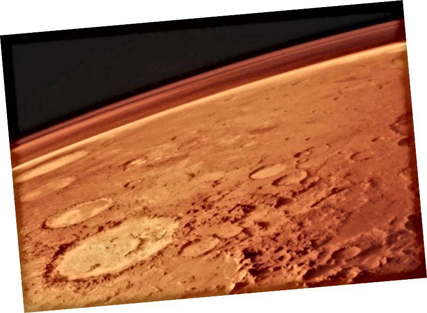 Ο Άρης, μαζί με τη λεπτή του ατμόσφαιρα, όπως φωτογραφήθηκε από τον τροχίσκο των Βίκινγκ στη δεκαετία του 1970. Ακόμη και με τις δυσκολίες που συνδέονται με τη ζωή στον Κόκκινο Πλανήτη, μια επιτυχημένη ανθρώπινη αποικία θα μπορούσε να επιτευχθεί με μόλις 50 δισεκατομμύρια δολάρια. Πιστωτική εικόνα: NASA / Viking 1.