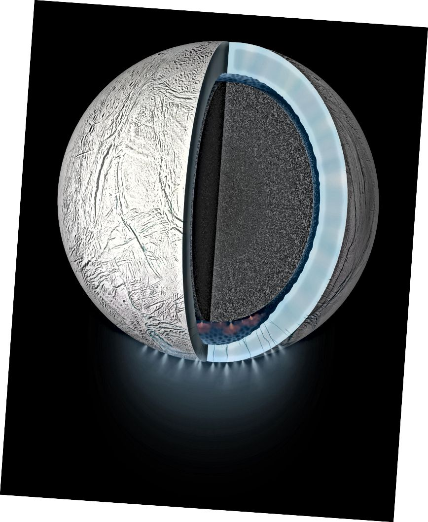 Рэндэрынг мастака, які паказвае разрэз у інтэр'еры Энтулада Месяца Сатурна. Крэдыт: NASA / JPL-Caltech