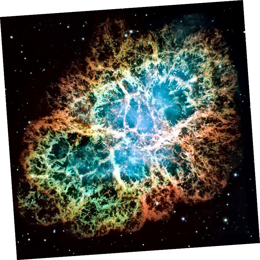 Tá pulsar ag sníomh go tapa mar chuid de chatalóg Messier Hubble - Messier 1 (The Crab Nebula). Tá cripteanna geala ag bogadh amach ón pulsar ag leath luas an tsolais chun fáinne atá ag leathnú a fhoirmiú. Cruthaíonn na cruthanna seo feadh línte réimse maighnéadacha i ngás cáithníní an-fuinniúla arna dtiomáint sa spás ag an réalta neodrón atá an-mhaighnéadaithe agus atá ag rothlú go gasta. (NASA, ESA, J. Hester agus A. Loll (Ollscoil Stáit Arizona))