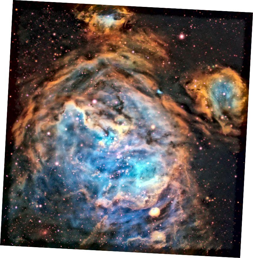 Az újonnan kialakuló csillagok ezt a káprázatos régiót a Nagy Magellán Felhőben (LMC) a Multi Unit Spectroscopic Explorer készülék fogta fel az ESO nagyon nagy távcsövével. A viszonylag kis pormennyiség az LMC-ben és a MUSE akut látásában lehetővé tette a régió bonyolult részleteinek látható fényben történő kiszedését (ESO, A McLeod et al.)