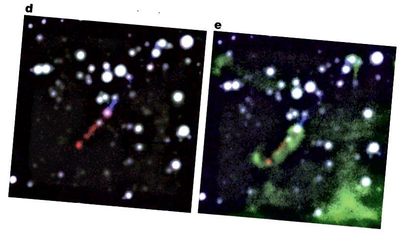 d, e, A sugárhajtómű nagyított képei, amelyek ab. A három színű kompozit d-ben ugyanaz, mint az a-ban. E-ben a zöld az [S II] 6731 Å-nak felel meg. Valamennyi panelen észak felfelé és keleti balra.