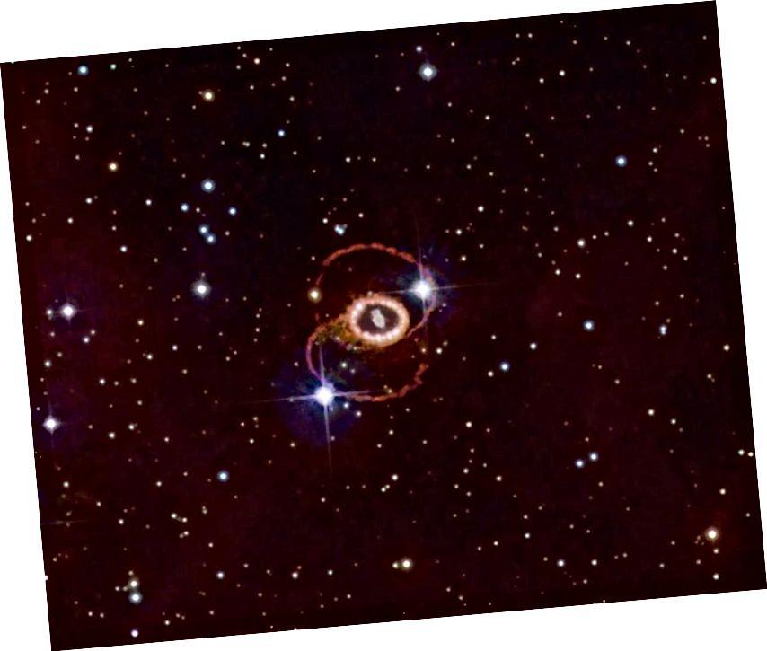 Mbetja e supernovës 1987a, e vendosur në Re të Mjegullanikut të Madh rreth 165,000 vite dritë larg. Fakti që neutrinot mbërritën disa orë para sinjalit të parë të dritës na mësoi më shumë rreth kohëzgjatjes së dritës për të përhapur nëpër shtresat e yllit të një supernova sesa ajo për sa i përket shpejtësisë së udhëtimit të neutrinove në, gjë që ishte e dallueshme nga shpejtësia e dritës. Neutrinot, drita dhe graviteti duket se të gjithë udhëtojnë me të njëjtën shpejtësi tani. (NOEL CARBONI & ESA / ESO / NASA PHOTOSHOP FITS LIBERATOR)