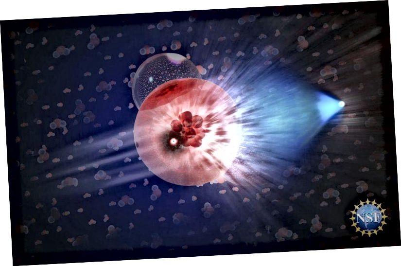Në këtë ilustrim, një neutrino ka bashkëvepruar me një molekulë akulli, duke prodhuar një grimcë sekondare - një muon - që lëviz me shpejtësi relativiste në akull, duke lënë një gjurmë të dritës blu pas saj. (NICOLLE R. FULLER / NSF / ICECUBE)