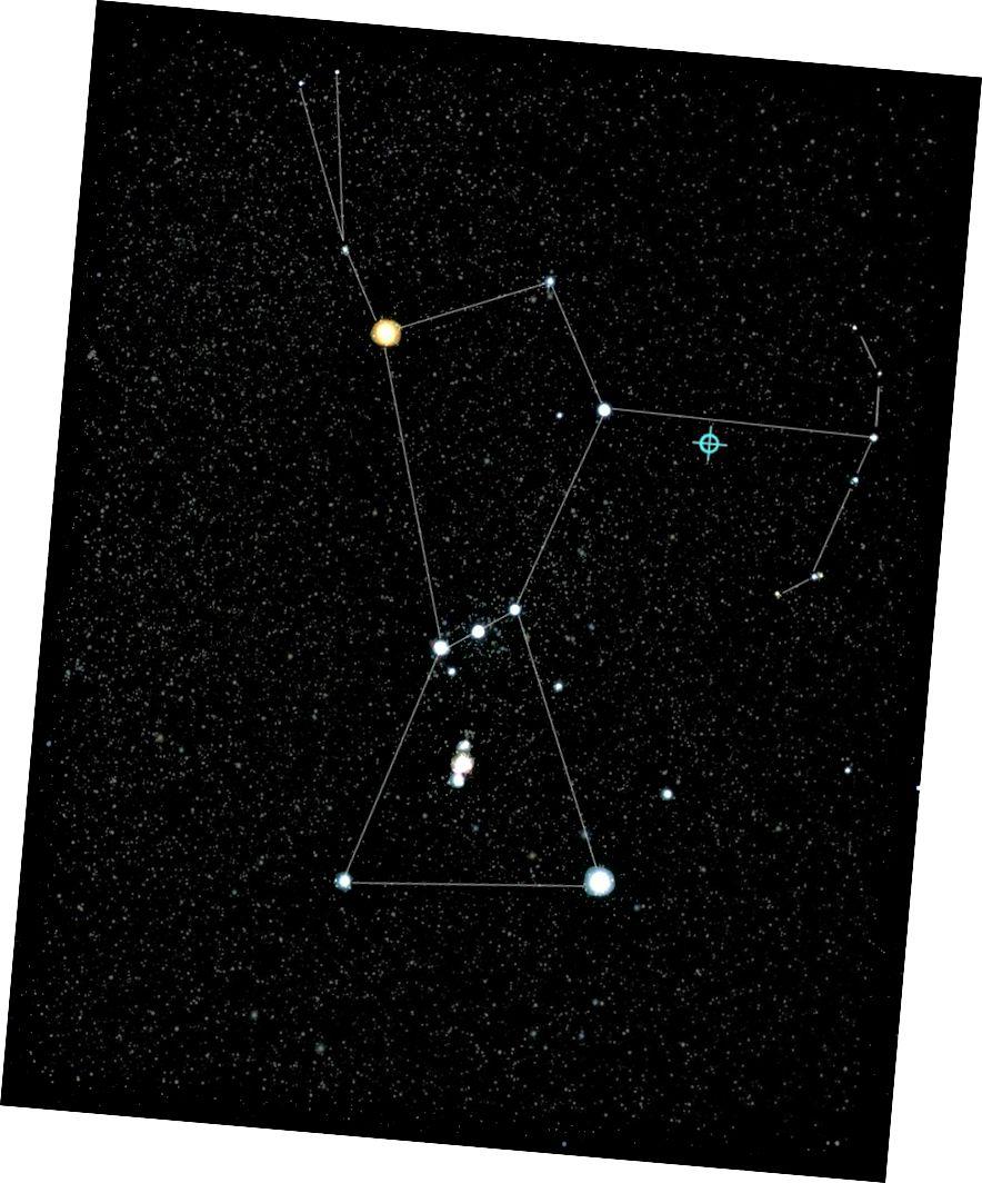 Blazar TXS 0506 + 056 është burimi i parë i identifikuar i neutrinove me energji të lartë dhe rrezet kozmike. Ky ilustrim, bazuar në një imazh të Orionit nga NASA, tregon vendndodhjen e blazarit, i vendosur në qiellin e natës, vetëm sipër krahut të majtë të yjësisë Orion. Burimi është rreth 4 miliardë vjet dritë nga Toka. (ICECUBE / NASA / NSF)
