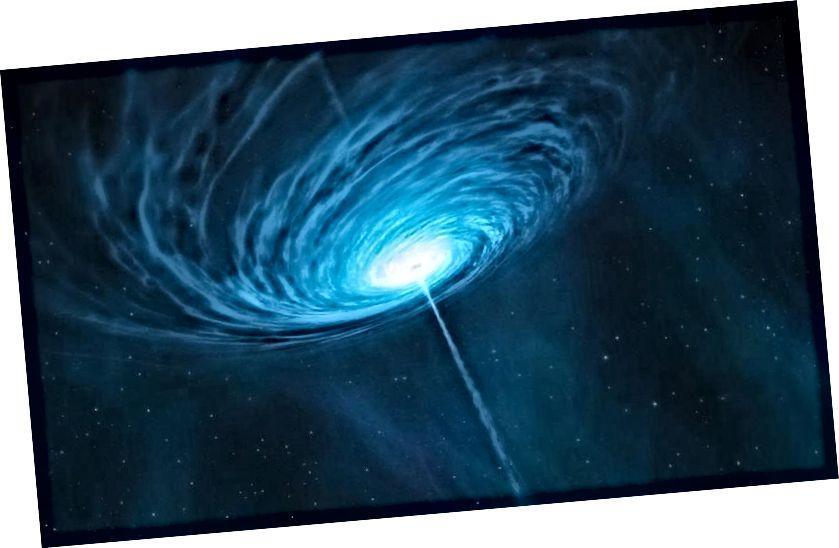 Kjo është përshtypja e një artisti për një kuarc të largët 3C 279. Avionët bipolarë janë një tipar i zakonshëm, por është jashtëzakonisht e pazakontë që një avion i tillë të tregohet drejtpërdrejt tek ne. Kur kjo të ndodhë, ne kemi një Blazar, i konfirmuar tani se është një burim i rrezet kozmike me energji të lartë dhe neutrinot me energji ultra të lartë që kemi parë me vite. (ESO / M. KORNMESSER)