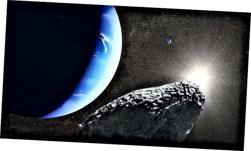 Ein künstlerischer Eindruck von Hippocamp (Vordergrund), der Neptun umkreist, mit Proteus im Hintergrund. Dieser Mond ist zu klein und zu weit entfernt, als dass Oberflächendetails von der Erde aus gesehen werden könnten, selbst wenn das Hubble-Weltraumteleskop verwendet wird. Bildnachweis: NASA, ESA und J. Olmsted (STScI)
