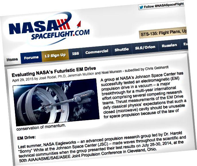 Dr. Rodal hat eine lange Erfolgsgeschichte als EMdrive-Enthusiast. Bildnachweis: Screenshot von der NASA-Raumfahrt, die übrigens keine offizielle NASA-Website ist, über http://www.nasaspaceflight.com/2015/04/evaluating-nasas-futuristic-em-drive/.