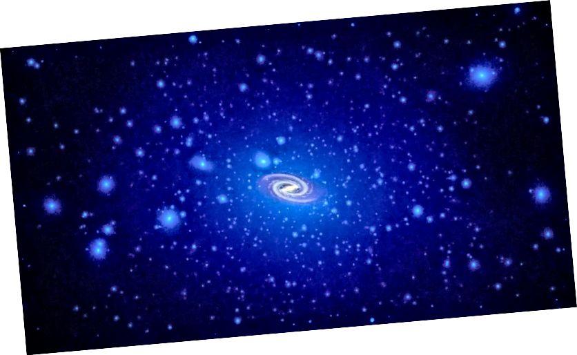 Nach Modellen und Simulationen sollten alle Galaxien in Halos aus dunkler Materie eingebettet sein, deren Dichte an den galaktischen Zentren ihren Höhepunkt erreicht. Es wird jedoch erwartet, dass eine große Anzahl von Subhalo-Klumpen vorhanden ist, die Miniaturgalaxien im Inneren verstecken. Ihre Verteilung sollte haloartig und nicht festplattenartig sein. Bildnachweis: NASA, ESA sowie T. Brown und J. Tumlinson (STScI).