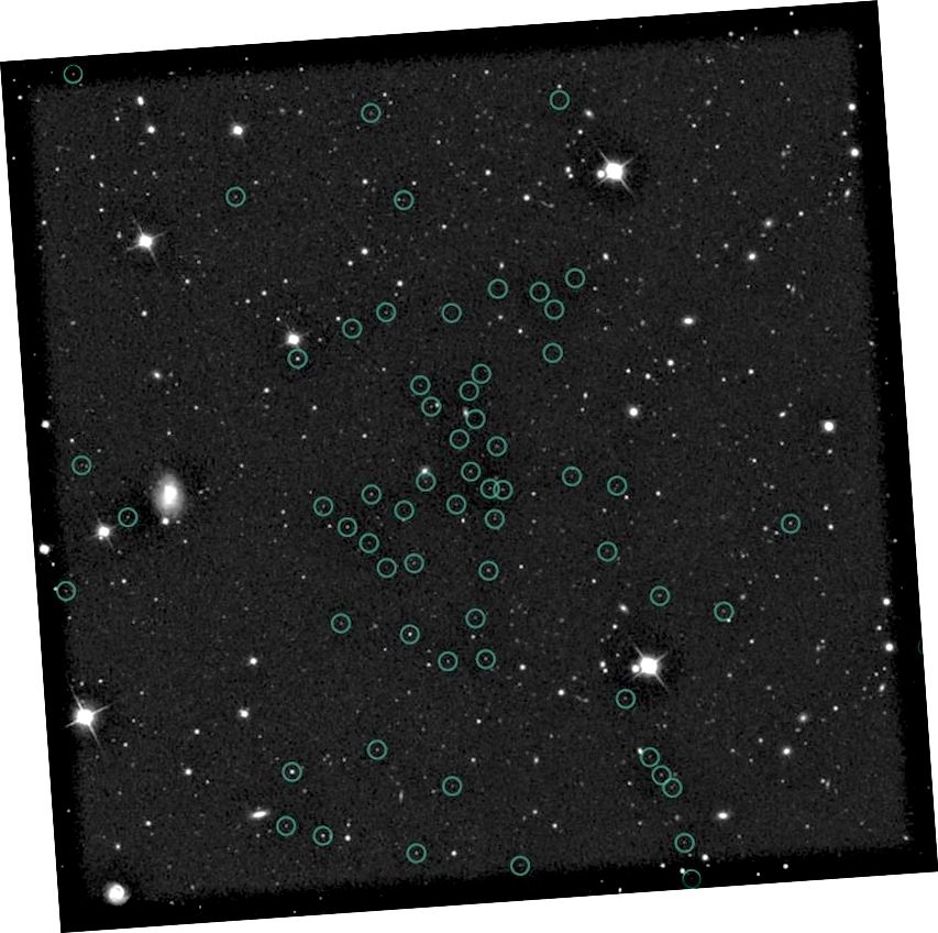Le približno 1000 zvezd je prisotnih v celotni pritlikavi galaksiji Segue 1 in Segue 3, ki ima gravitacijsko maso 600.000 Sončkov. Zvezde, ki sestavljajo pritlikav satelit Segue 1, so tu obkrožene. Kreditna slika: Obzornice Marla Geha in Keck.
