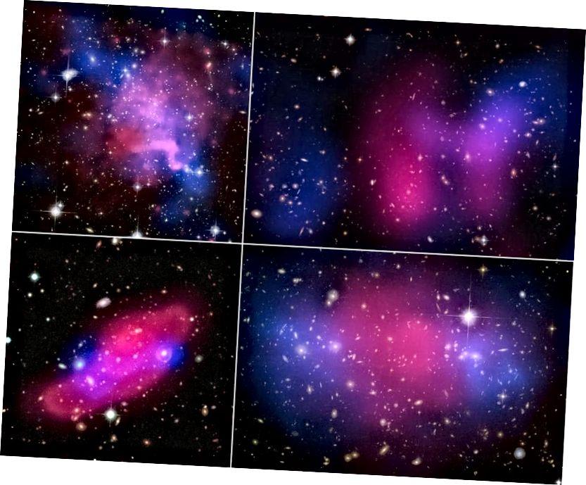 Vier kollidierende Galaxienhaufen, die die Trennung zwischen Röntgenstrahlen (rosa) und Gravitation (blau) zeigen, was auf dunkle Materie hinweist. Im großen Maßstab ist CDM notwendig, aber im kleinen Maßstab ist es allein nicht so erfolgreich, wie wir es möchten. Bildnachweis: Röntgen: NASA / CXC / UVic. / A. Mahdavi et al. Optisch / Linse: CFHT / UVic. / A. Mahdavi et al. (oben links); Röntgen: NASA / CXC / UCDavis / W. Dawson et al.; Optisch: NASA / STScI / UCDavis / W.Dawson et al. (oben rechts); ESA / XMM-Newton / F. Gastaldello (INAF / IASF, Mailand, Italien) / CFHTLS (unten links); Röntgen: NASA, ESA, CXC, M. Bradac (Universität von Kalifornien, Santa Barbara) und S. Allen (Stanford University) (unten rechts).
