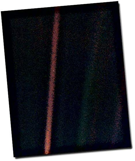 Dieser hellblaue Punkt auf dem roten Band ist die Erde
