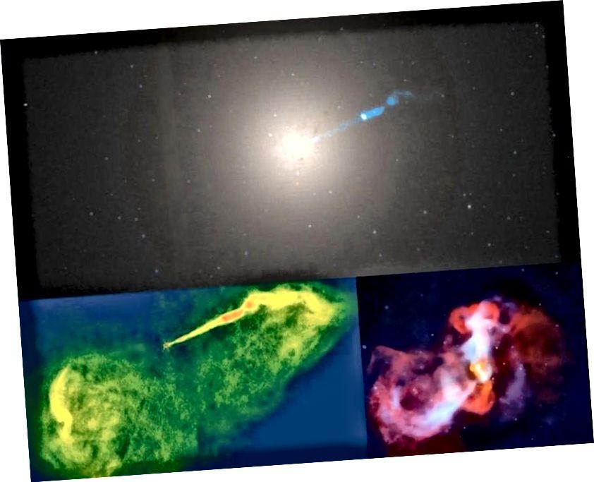Druga co do wielkości czarna dziura widziana z Ziemi, ta w centrum galaktyki M87, pokazana jest tutaj w trzech widokach. Na górze jest optyczny od Hubble'a, w lewym dolnym rogu znajduje się radio NRAO, a w prawym dolnym rogu zdjęcie rentgenowskie od Chandra. Pomimo masy 6,6 miliarda słońc, znajduje się ponad 2000 razy dalej niż Strzelec A *. Event Horizon Telescope próbował zobaczyć swoją czarną dziurę w radiu, a teraz jest to lokalizacja pierwszej czarnej dziury, w której ujawniono jej horyzont zdarzeń. (TELESKOP GÓRNY, OPTYCZNY, HUBBLE SPACE / NASA / WIKISKY; DOLNY LEWY, RADIO, NRAO / BARDZO DUŻY ARRAY (VLA); DOLNY PRAWY, X-RAY, NASA / CHANDRA X-RAY TELESKOP)