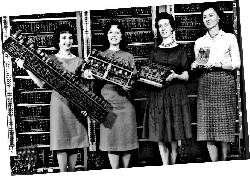 «Детали четырех ранних компьютеров, 1962 год. Слева направо: плата ENIAC, плата EDVAC, плата ORDVAC и плата BRLESC-I, демонстрирующие тенденцию к миниатюризации».