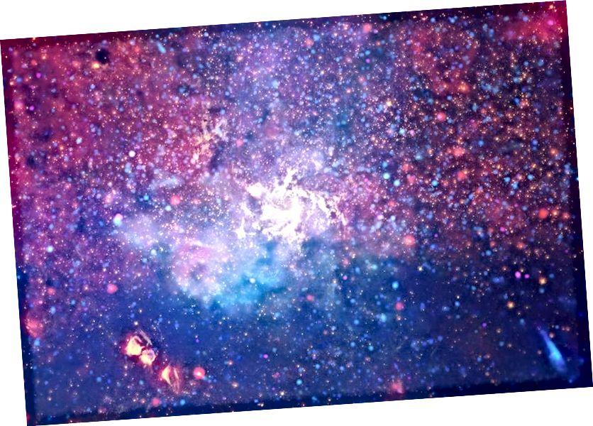 Diese Mehrwellenlängenansicht des galaktischen Zentrums der Milchstraße reicht vom Röntgenstrahl über das optische bis ins Infrarot und zeigt Schütze A * und das etwa 25.000 Lichtjahre entfernte intragalaktische Medium. Das Schwarze Loch hat eine Masse von ungefähr 4 Millionen Sonnen, während die Milchstraße als Ganzes jedes Jahr weniger als eine neue Sonne Sterne bildet. Später in diesem Jahr wird das EHT mithilfe von Funkdaten den Ereignishorizont des Schwarzen Lochs auflösen. (Röntgen: NASA / CXC / UMASS / D. WANG ET AL.; OPTISCH: NASA / ESA / STSCI / D. Wang ET AL.; IR: NASA / JPL-CALTECH / SSC / S. STOLOVY)