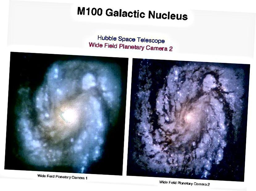 Папярэдняя розніца паміж першапачатковым выглядам Хабла (злева) з недахопамі люстэрка і скарэктаванымі малюнкамі (справа) пасля належнай оптыкі. (НАСА / STScI)