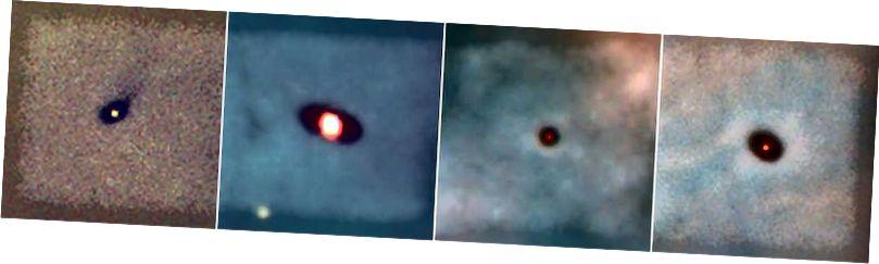 Гэтыя прапланетарныя дыскі ў туманнасці Арыёна, ад якой-небудзь прыблізна 1300 светлавых гадоў, калі-небудзь вырастуць у сонечную сістэму, не вельмі адрозную ад нашай. Гэтыя здымкі зроблены з дапамогай касмічнага тэлескопа Хабла. (Марк МакКурын (Max-Planck – Inst. Astron); C. Роберт О'Дэлл (Універсітэт Райсу); NASA)