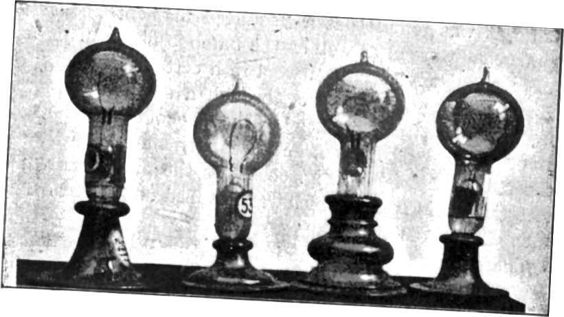 Фотаздымак электрычных лямпачак напальвання з ранніх папяровых вырабаў, вынайдзены Томасам Альвай Эдысанам у 1879 годзе. У подпісе напісана: