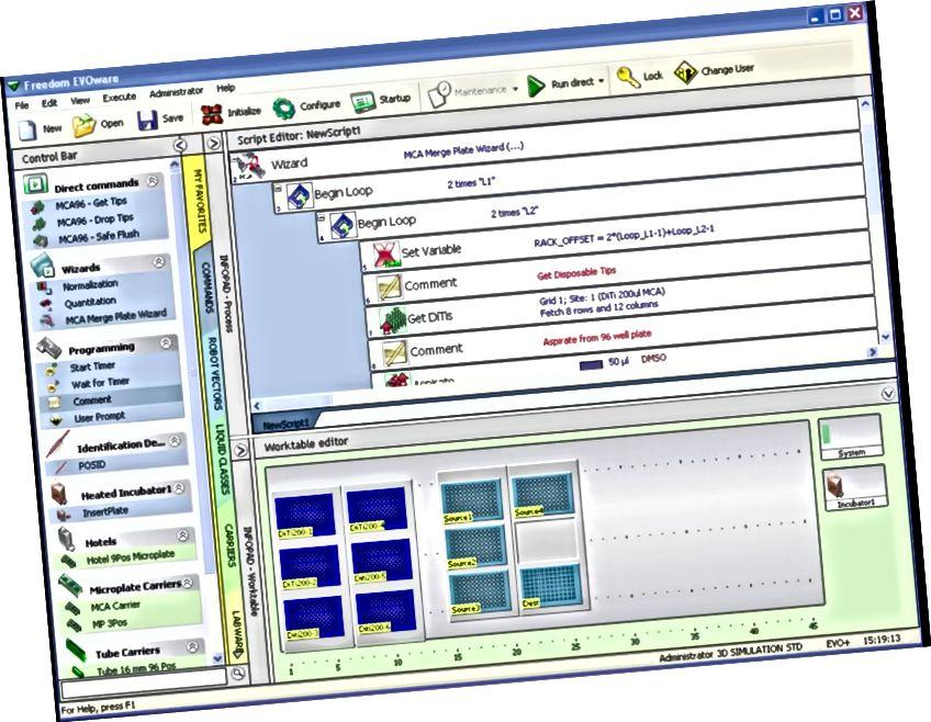 Freedom Evowareのメイン画面のスクリーンショット。 出典:https://lifesciences.tecan.com/software-freedom-evoware