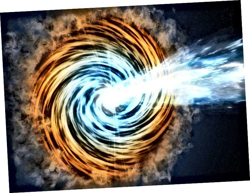 Kad se crne rupe hrane materijom, stvaraju akrecijski disk i bipolarni mlaz okomit na njega. Kad mlaz supermasivne crne rupe usmjeri prema nama, to nazivamo ili BL Lacertae objektom ili blazarom. Smatra se da je ovo sada glavni izvor i kozmičkih zraka i visokoenergetskih neutrina. (NASA / JPL)