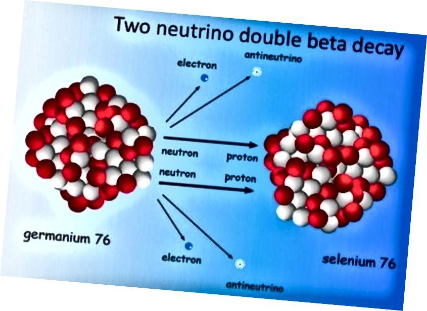 Ёсць некалькі атамных ядраў, якія назіраюцца пад звычайным двайным бэта-распадам, дзе два нейтрона ператвараюцца ў два пратоны (змяняючы ядро), а таксама выкідваюцца два электрона і два антинейтрына. Малюнак: Нацыянальная лабараторыя Oak Ridge / UT-Battelle / Дэпартамент энергетыкі.