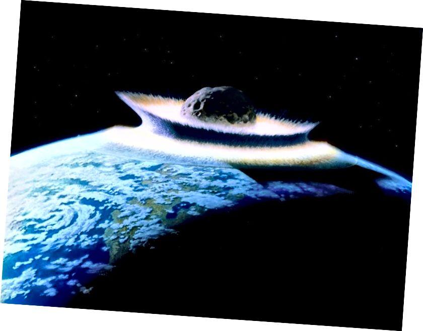 Jedan planetoid koji se sudario sa Zemljom, analogan bi bio (ali veći i usporeniji) nego što bi bio udar između Swift-Tuttlea i Zemlje. Kreditna slika: NASA / Don Davis.