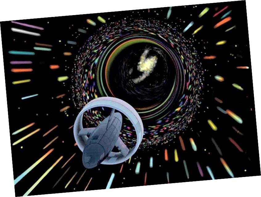 Die Vorstellung eines Künstlers von einem Raumschiff, das den Alcubierre-Antrieb nutzt, um mit scheinbar schneller als Lichtgeschwindigkeit zu reisen. Durch die Kombination der Warp-Technologie mit dem Myzelantrieb und den Schiffsschildern entwickeln Stamets und Tilly einen Plan, um Discovery nach Hause zu bringen und gleichzeitig das Myzel-Netzwerk intakt zu halten. Bildnachweis: NASA.