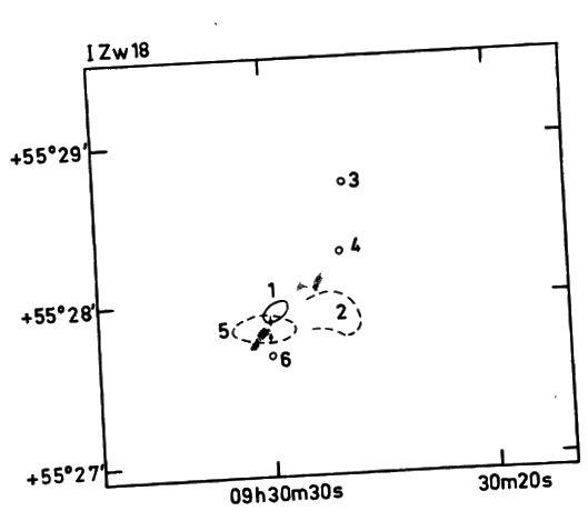 Figura 5, Lequex e Viallefond 1980. Una mappa delle regioni HI nella galassia mostra che tre (etichettati 1, 2 e 5) sono abbastanza grandi da essere risolti, mentre gli altri sono fonti puntuali. Le regioni 1, 4 e 5 sono le più grandi.