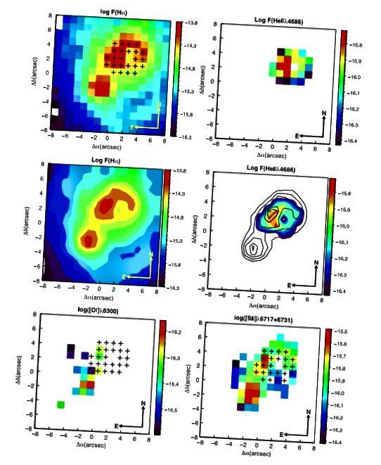 Slika 2, Kehrig i sur. 2015. Područje visoke emisije Hα i He II λ4686 pokazuje malo preklapanje s [OI] emisijom λ6300 i niskim [S II] kontrastom, što isključuje mogućnost rendgenskih udara.