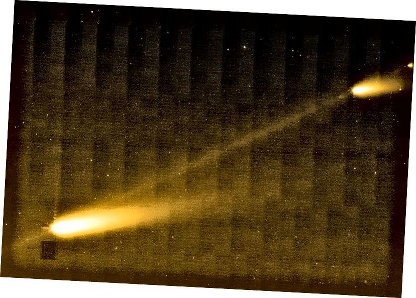 Krhotina kometa - prikazana kao tanka linija između fragmenata - prati njenu orbitu i stvara meteorske pljuskove. Iako je čitav potok može biti širok milijunima kilometara, vrh je mnogo uži. Kad Zemlja pređe središnju liniju, to je znak da smo u opasnosti da nas pogodi matični komet, ako i mi i mi istovremeno zauzimamo isti prostor. Kreditna slika: NASA / JPL-Caltech / W. Reach (SSC / Caltech).