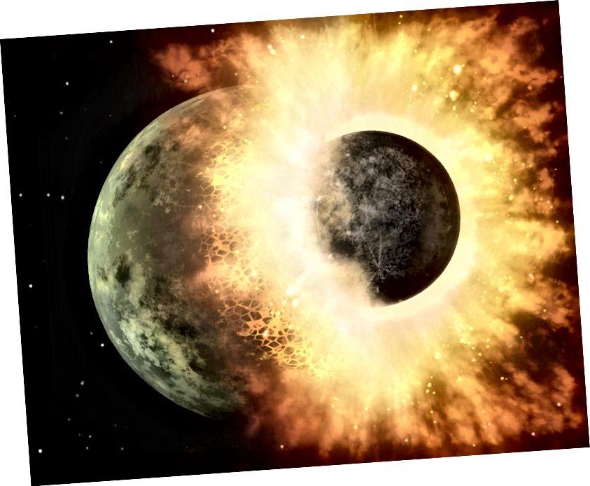 Hipoteza divovskog udara kaže da se tijelo veličine Marsa sudarilo s ranom Zemljom, a krhotine se ne spuštaju na Zemlju tvoreći Mjesec. U cijeloj Zemljinoj povijesti od ovog trenutka možda nije bilo utjecaja većeg od sudara sa Swift-Tuttleom. Kreditna slika: NASA / JPL-Caltech.