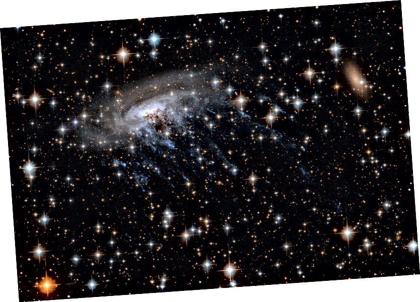 Преградената спирална галактика ESO 137–001, видяна от космическия телескоп Хъбъл. Кредит за изображение: NASA / ESA